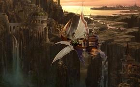 Обои корабль, арт, водопад, город, ucchiey, kazamasa uchio, летучий, река