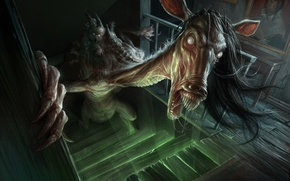 Обои horse, creepy, stairs, humanoid creature, demoniac