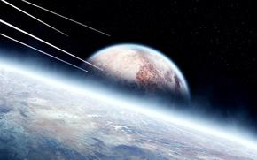 Картинка звезды, поверхность, планеты, атмосфера, ракеты
