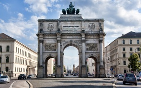 Картинка дорога, машины, здания, Siegestor, Munich, Day