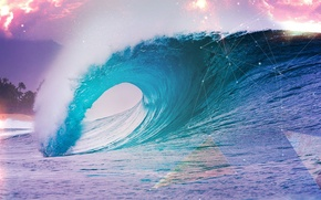 Обои абстракция, океан, волна, берег