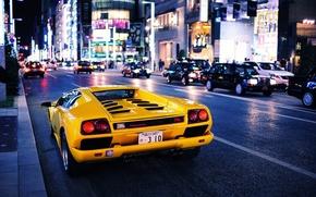 Картинка car, city, Авто, Желтый, Город, Lamborghini, yellow, Diablo, Ламборгини, Диабло