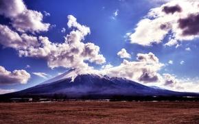 Обои гора, утро, morning, clouds, природа, landscapes, grass, mountains, поле, облака, небо, трава, пейзаж