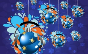 Картинка шары, наушники, ёлочные игрушки