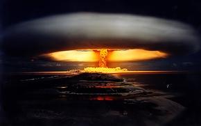 Обои война, ядерный взрыв, ночь