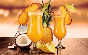 Обои дыня, коктейли, трубочки, cocktails, кокос, фрукты, ананас, бокалы