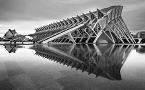 Картинка здание, черно-белое, архитектура, Испания, Валенсия