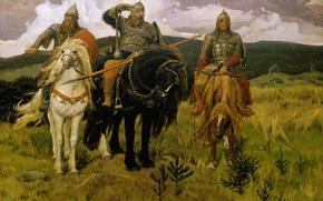 Обои фольклор, былины, Васнецов Виктор Михайлович, классика, кони, богатыри, сказка