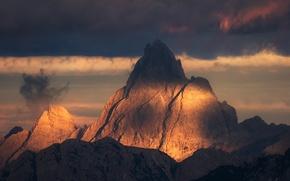 Картинка небо, свет, горы, природа, вершина