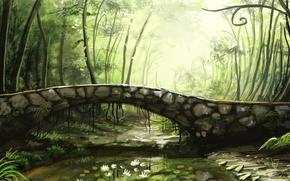 Картинка деревья, мост, река, лилии, арт, каменный, sunimo