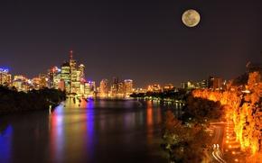 Картинка дорога, ночь, огни, пролив, небоскребы, Луна, панорама, Australia, Brisbane