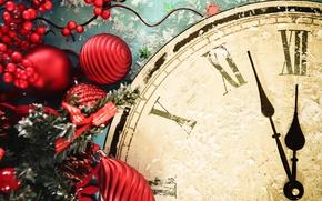 Картинка украшения, часы, Новый Год, Рождество, Christmas, New Year, decoration, Merry