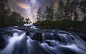Обои природа, река, ночь
