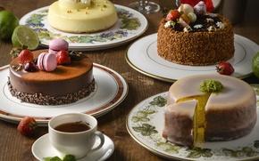 Обои ягоды, чай, торт, крем, десерт, макарун