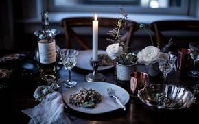 Картинка wine, food, candle, pasta, spaghetti