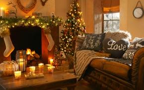 Картинка любовь, огни, сердце, интерьер, свечи, камин, love, heart, interior, candles, fireplace, рождественская елка, Christmas tree …