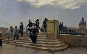 Картинка девушка, мост, люди, ветер, картина, зонт, шарф, платье, черное, ступеньки, чемоданчик, Jean Beraud