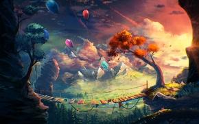 Картинка осень, листья, деревья, природа, шары, арт, мостик