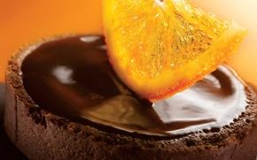 Обои сладость, апельсин, еда, шоколад