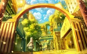 Картинка девушки, арт, сказочный город, bounin