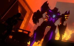 Картинка огонь, темно, Megatron, Transformers, Decepticon
