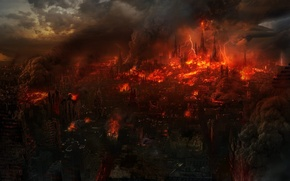 Картинка город, фантастика, огонь, апокалипсис, молнии, руины, конец света