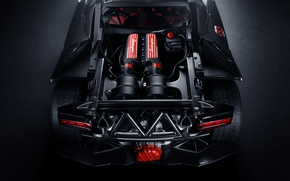 Картинка двигатель, Lamborghini, black, ламборджини, rear, Elemento, Sesto, элементо, сесто, подкапотное пространство