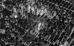 Картинка lights, USA, United States, design, night, New York, Manhattan, NYC, New York City, evening, black ...