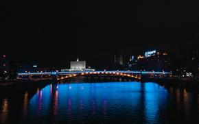 Картинка ночь, москва, ночной город, киевский мост, ночная москва
