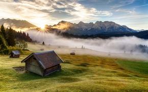 Картинка трава, деревья, горы, природа, туман, дом, утро, Германия, Бавария