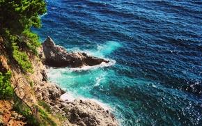 Картинка море, скала, камни, берег