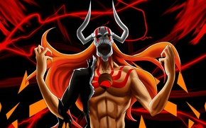 Картинка wallpaper, fire, flame, game, Bleach, long hair, evolution, anime, man, boy, Ichigo, fang, transformation, hero, …