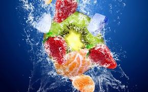 Картинка лед, вода, брызги, киви, фрукты