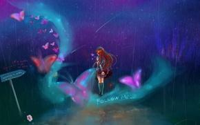 Картинка девушка, звезды, бабочки, ночь, знак, поворот, арт, форма, живопись, Gabrielle Ragusi, follow me