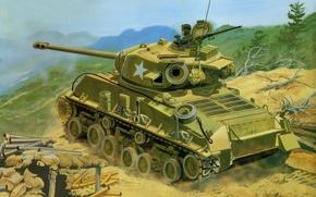 Картинка арт, танк, стрельбы, средний, Sherman, качестве, используется, позициям., северокорейским, A3E8, артиллерийской, Корейская война, 1950—1953гг.