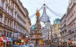 Картинка улица, дома, Австрия, люстра, Вена, чумная колонна