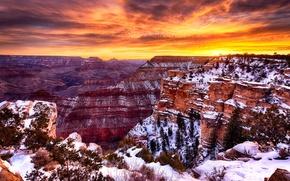 Картинка небо, облака, снег, закат, каньон, сша, аризона, Grand Canyon