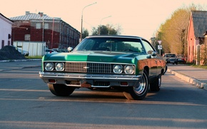 Обои Дома, Дорога, Город, Chevrolet, Impala 1973