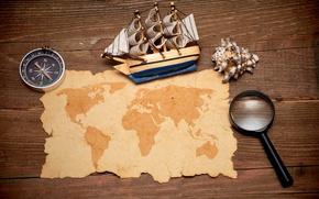 Картинка модель, карта, лупа, компас