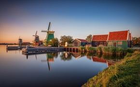 Картинка дома, мельницы, Голландия, Zaanse Schans