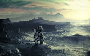 Картинка свет, горы, робот