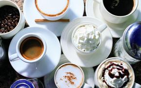 Картинка стол, кофе, сливки, сахар, кружки, напитки, зёрна, блюдца, каппучино
