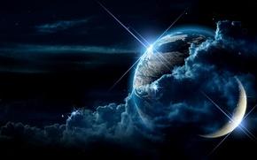 Картинка планета, спутник, Луна, Земля