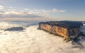 Картинка облака, горы, скала, высота, водопад