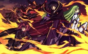 Картинка пламя, аниме, сиси, code geass, карен, ночные кошмары, лелуш, код гиас, алый лотос, зеро