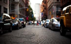 Обои street, дорога, машины, city, город, размытость, улица, здания, bokeh