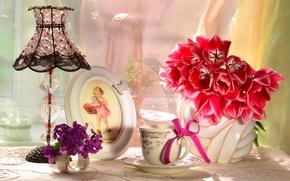 Картинка цветы, лампа, букет, рамка, девочка, чашка, тюльпаны, бантик, абажур