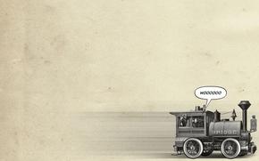 Картинка фон, надпись, обои, паровоз, минимализм, арт, мужчины