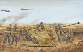 Картинка небо, рисунок, выстрелы, позиция, орудие, немецкое, самолёты.Вторая мировая война, Flak 37, артиллеристы, зенитное, 3.7cm