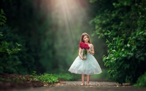 Картинка цветы, розы, букет, босиком, платье, девочка, боке